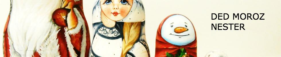 "Russian Santa nesting doll ""The Wiseman Inna"" painted with snow maiden and snowman."