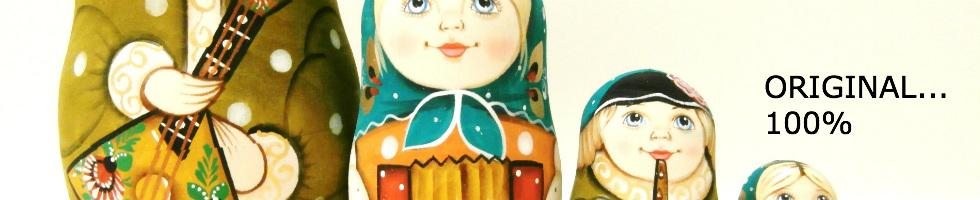 """Russian hand painted nesting doll """"Gavrila"""" with Russian musicians. Imported by Alkota."""